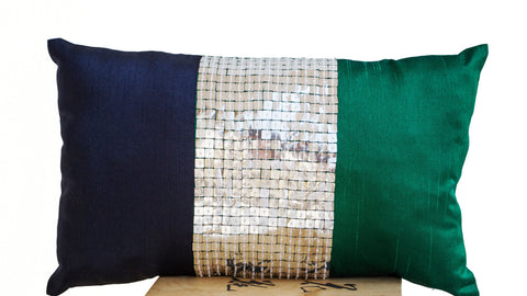 Handmade throw pillows with multiple colored silk sequin