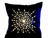 Handmade navy blue silk pillows with mirror embroidery