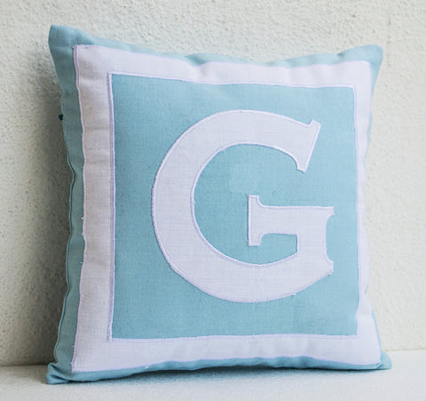 Handmade pillow covers with custom monogram