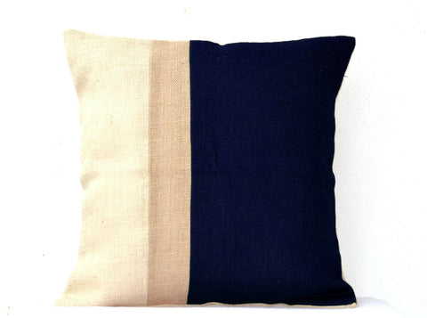 Handmade navy blue ivory striped burlap on Euro Sham covers