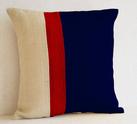 Handmade burlap navy blue cushion cover with color block