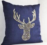 Deer/stag design pillow cover with gold, silver sequin