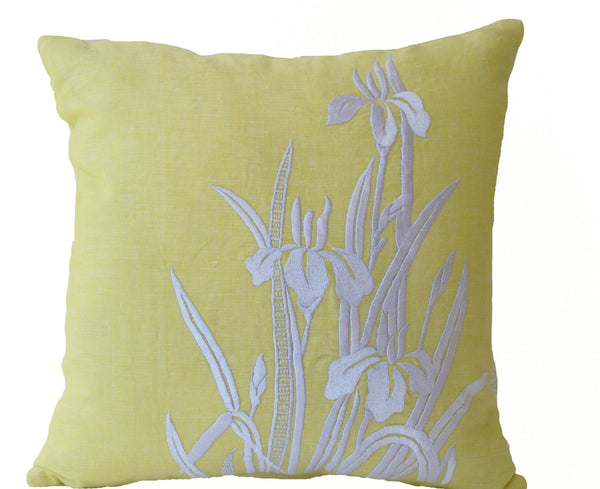 Shop Online For Handmade Yellow Pillow Cover With Iris Flower Design