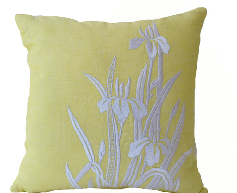 Handmade yellow pillow cover with iris flower design