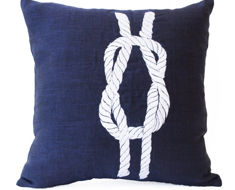 Handmade linen navy blue pillow covers