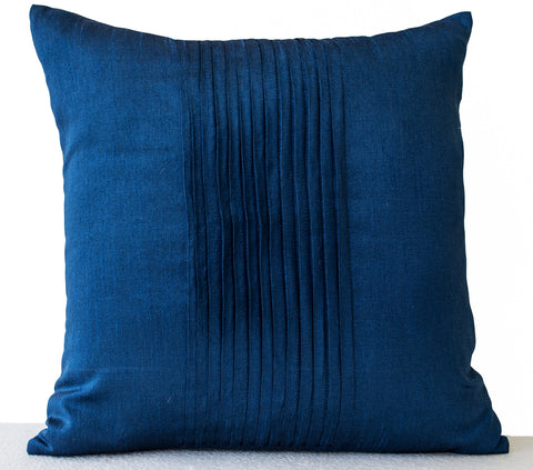 Handmade dark blue silk throw pillow with rippled pin tuck pattern