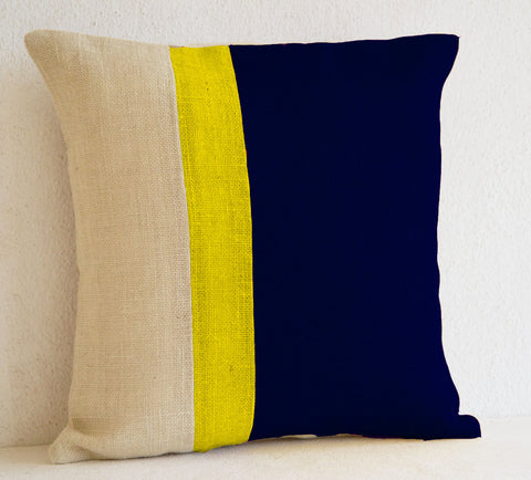 Handmade navy blue silk pillow with solid stripe color