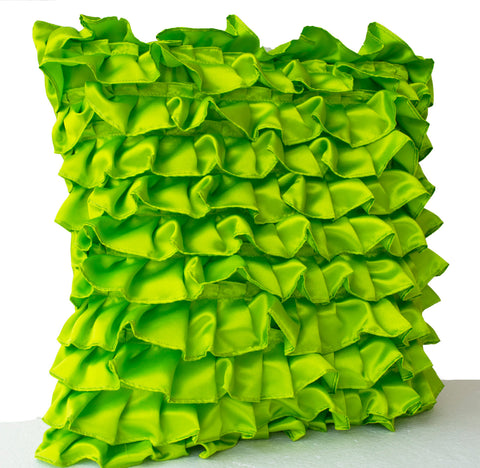 Handmade clover green pillow with satin ruffles