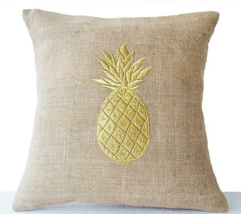 Handmade gold embroidered burlap pillow covers