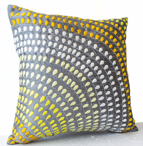 Handmade gray silk pillow covers with embroidery