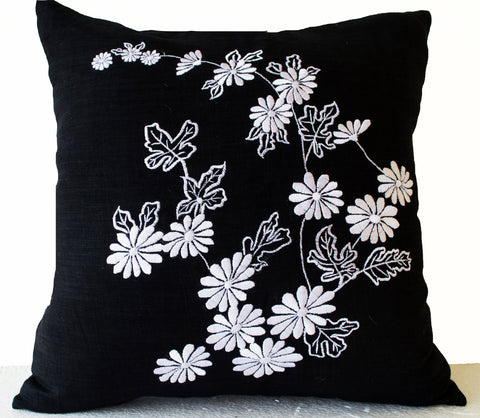 Handmade black pillows with Japanese embroidery