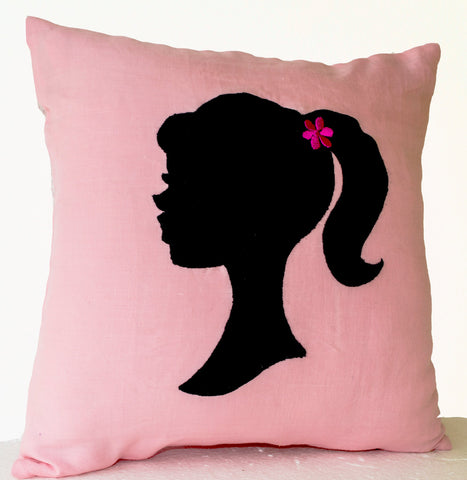 Handmade light pink throw pillow
