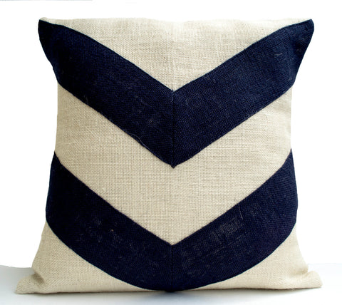 Handmade ivory black pillow cover with geometric pattern