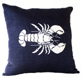 Handmade linen navy white pillow cover with lobster design