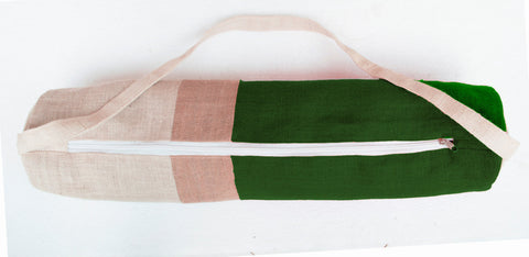 Handmade green burlap yoga mat bag with color block