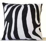 Handmade zebra striped accent pillow with embroidery