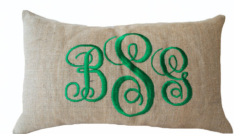 Handmade lumbar pillow with monogram