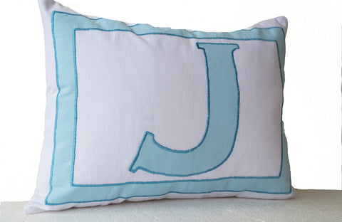 Handmade cotton pillow cover with white blue letter design