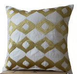 Handmade white gold silk pillows with ikat embroidery