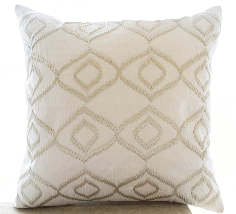 Handmade white silk cushion cover with ikat embroidery