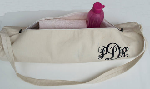 Handmade custom yoga mat bags with twill monogram