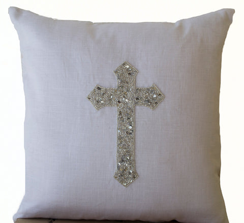 Handmade white linen pillow with silver Christian cross