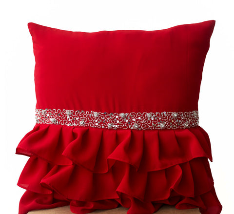 Handmade red ruffled throw pillow with sequin