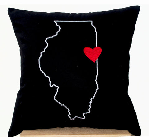 Handmade US state map pillow with heart design