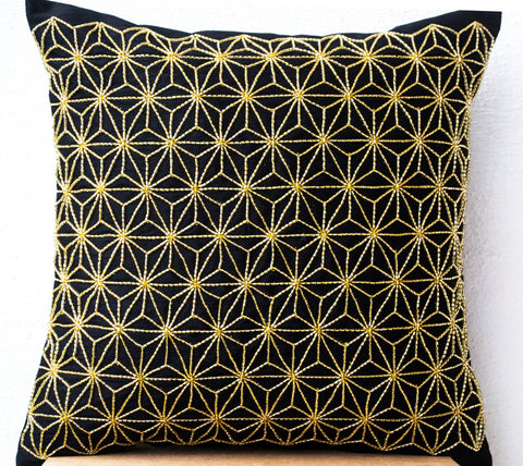Handmade gold hemp leaf embroidery pillow case