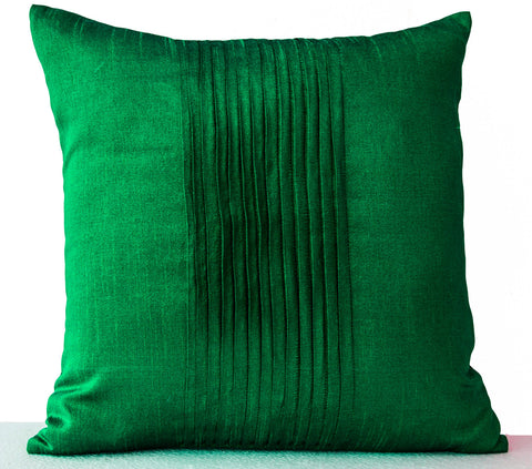Handmade emerald green silk throw pillows