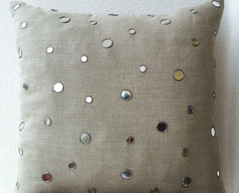 Handmade oatmeal linen cushion cover with shimmering mirrors