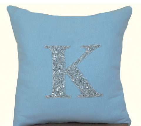 Handmade Blue Throw Pillow With Monogram