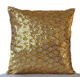 Handmade cream gold pillow cases with sequin