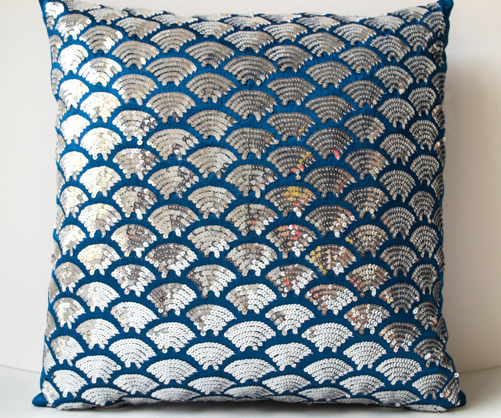 Shop online for handmade sashiko blue silk pillow cover with sequin ...