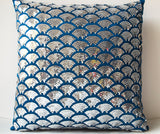 Handmade blue silk sequin pillow cover