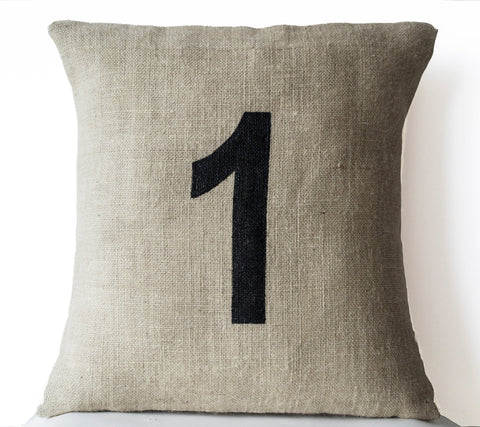 Handmade burlap pillow with hand painted numbers
