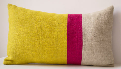 Handmade burlap yellow throw pillow with color block