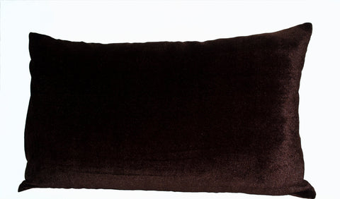 Handmade oatmeal linen chocolate brown velvet pillows