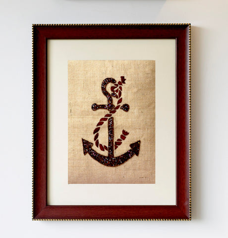 Handmade burlap wall art with sequins anchor