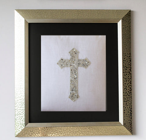 Handmade silver sequin white linen cross wall art