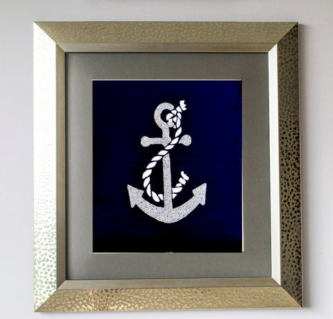 Handmade anchor sequin on navy blue silk wall art