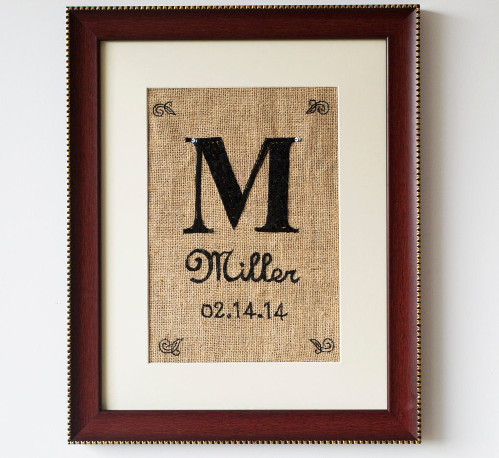 Handmade Burlap Initial Marriage Date In Sequin Wall Art