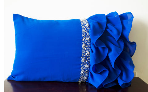 Handmade royal blue throw pillow with ruffles and beads