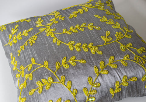 Handmade gray yellow throw pillow with sequin