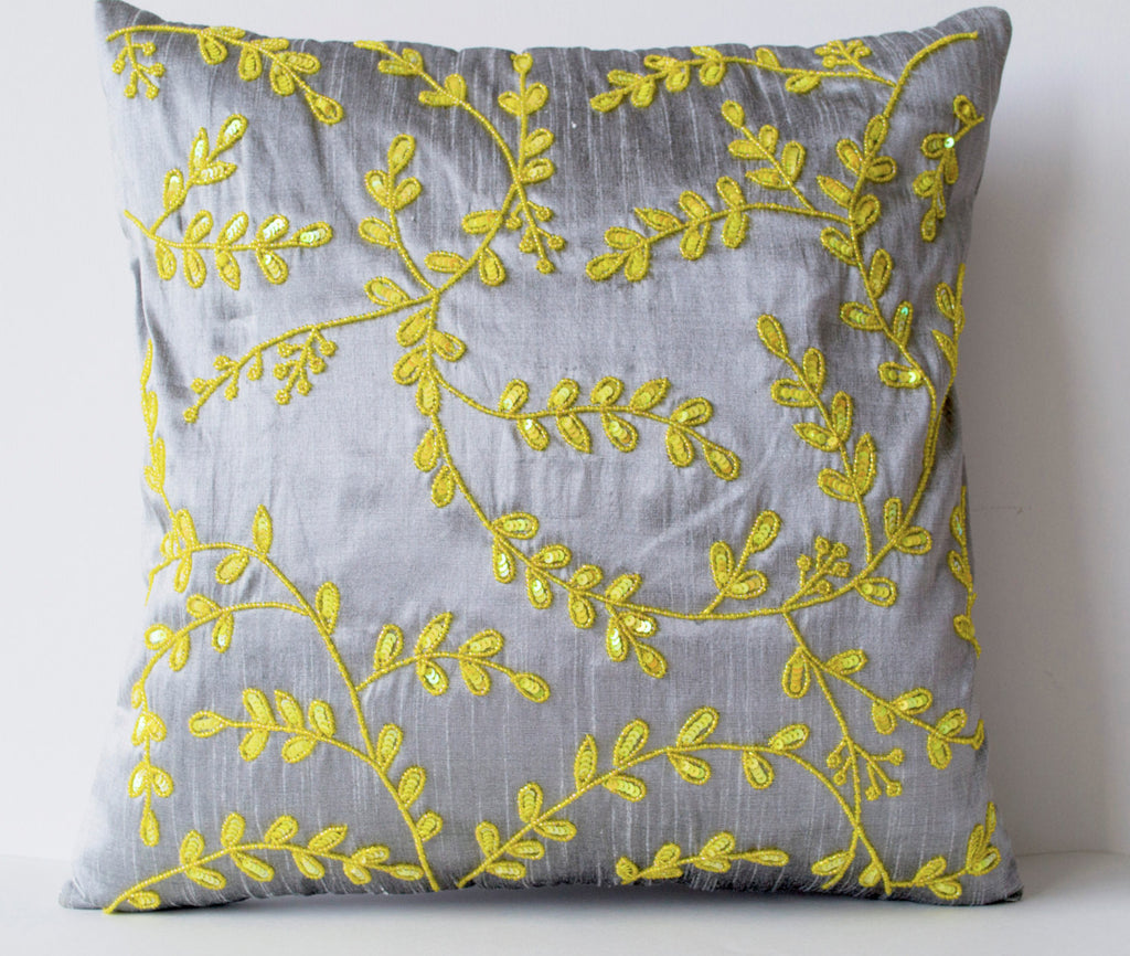 Shop online for handmade gray yellow silk throw pillows with beads