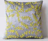 Handmade gray yellow silk throw pillows with beads