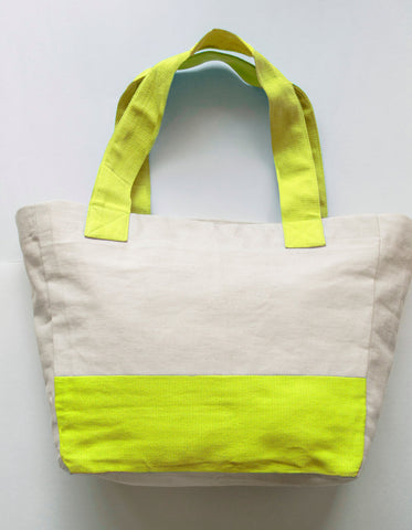Handmade cotton cream and lime green tote bag with monogram