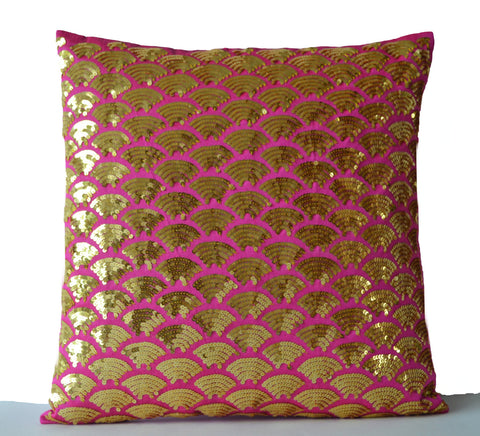 Handmade gold accent sequin throw pillow covers