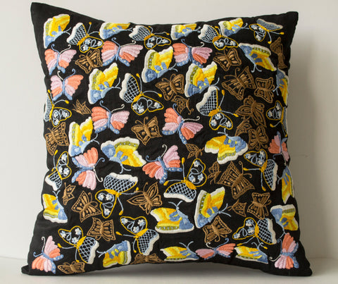 Handmade black silk throw pillow