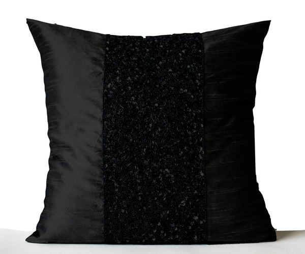 Black Beaded Throw Pillow : Black Beaded Black Silk Pillow Covers Metallic Sparkle Cushions ? Casa Amore International